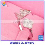 JL Jewelry Fashion Lady Ring 925 Sterling Silver CZ Micro Inlaid Butterfly Opening Ring