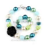 Wholesale black rose necklace gumball necklace acrylic bulk bubblegum beads chunky necklace                                                                                                         Supplier's Choice
