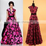 2015 Early Spring New Fashion Women's Sexy V-neck Rose Flowers Printed Big Hem Red / Blue / Green Vest Evening Dress