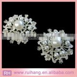 Beautiful White Fancy Metal Plated Sliver Pearl Brooches diamonte For Wedding Bridal