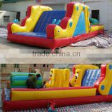 2014 Newest design cheap kids fun city mini inflatable playground with slide on hot sale
