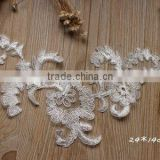 Wholesale Wedding Gown White Lace Applique,White Embroidery Bridal Lace Applique