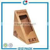 wholesale recyclable brown kraft paper cardboard food box with clear window for sandwich packaging                                                                                                         Supplier's Choice