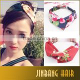 Ethnic Floral Wide Stretch Girl Yoga Hairband Fabric Hair bands headband Turban Twisted Knotted Head wear