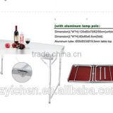 120*60 MDF Aluminum lightweight outdoor folding table with lamp pole