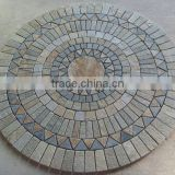 round multicolor flooring Mosaic tile flower patterns with mesh back, Mosaic patterns,wall panel