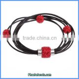 Wholesale New Design Leather Bracelets Red Crystal Rhinestone Fashion Jewelry For Women PLB-FB004A