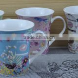 14OZ brightly bird in cage design fully decal printed coffee cups, shiny surface new bone china mug, KL5001-A408