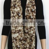 Beige Floral Printed Pure Wool Scarf with fringe