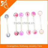 Hot Selling Stainless Steel Barbell with Different Styles of Acrylic Balls Tongue Piercing Body Jewelry Rings