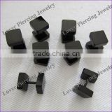 Square Design High Polish Black Anodized Stainless Steel Cool Ear Tunnel Piercing [AS-426]