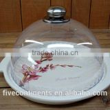 Peach flower decal ceramic round cake plate with plastic cover