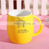 Yellow barrel shape porcelain beer mug for sublimation with ceramic lid and spoon                                                                                                         Supplier's Choice