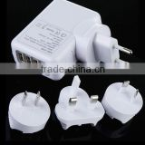 4 Port USB EU/AU/US/UK AC Adapter Plug Travel Charger / convertible plug charger / USB adapter