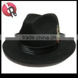 Mens Hat 100% Wool Wide Round Brim Fedora Cap Satin Feather Band Black