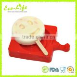 DIY Silicone Laugh Face Ice Cream Mold, Popsicle Maker Holder Frozen Ice Cube Tray with Popsicle Sticks Kitchen Tools