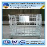 Foldable metal steel mesh box wire cage metal bin storage container for material handling