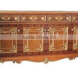Luxury British Antique Painted Buffet, Dining Room Furniture Decorative Side Cabinet, Exquisite Hand Carved Wooden Sideboard
