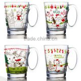 8oz 10oz 12oz christmas drinking glass mug water glass cup set