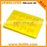 2014 fashion yellow square silicone ice cube tray with smile face