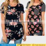 Cheap china casual tops clothing short sleeve round neck printed floral women t-shirt with flower designed