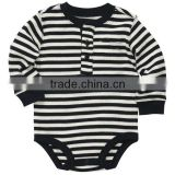 Baby white and black strip fabric Long-Sleeve with buttons Bodysuit