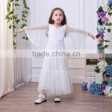 Hot Pretty Ivory White Lace Flower Girls Dresses Ball Gown Floor Length Girls First Communion Dress Party Dress