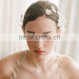 2016 Wedding White Flower Birdcage Bridal Face Veils Bridal Blusher Veil Russian Netting Chiffon Floral Hair Accessory Wedding