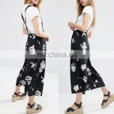 Top design printed attached buttoned women fashionable suspenders pants