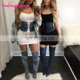 Wholesale Stylish Latest Design Women Lace Up Wide Waist Belt Elastic Waistband