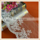 wholesale white cotton embroidered bridal lace trimming scalloped shape custom for garment/dress