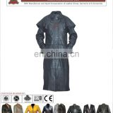 Long Leather Black Coat for Ladies, High quality leather coats