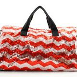 chevron printed sequin travel bag with long shoulder