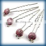 2013 newest fashion alloy rhinestone hair pin fork