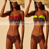 Bandeau Bikinis Set Patchwork Leopard Women Swimwear Separate Female Swimsuit Underwire Bathing Suit 2019