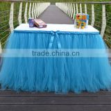 Tutu Tulle Table Skirt Cover Home Decoration Blue SD103