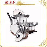straight shape high mirror polished stainless steel cooking pot heat proof bakelite handles
