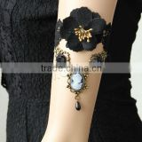 Black Antique Bronze Color Plated With Etamine & Nylon & Ribbon & Glass Pearl & Resin & Zinc Alloy Lace