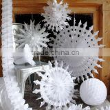Christmas Snow white paper folding fans ice and snow snowflake fan ice snow color tissue fans