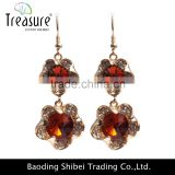 Fashion jewelry hot selling pendant flower shape crystal earring gold plated jewelry earrings