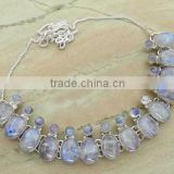 114.00ctw Genuine RAINBOW MOONSTONE & .925 Sterling Silver Necklace Jewelry Wholesale