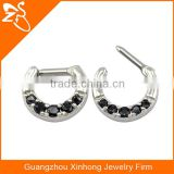 Indian style surgical steel piercing jewelry Black stone fancy nose ring jewelry