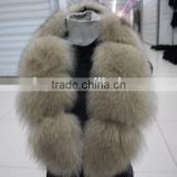trimming strip/soft fox fur collar with leather