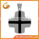 Custom silver and black steel cross pendant, bio energy pendant