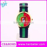Latest 2016 brazil flag watches beautiful ladies watch with canvas watch strap