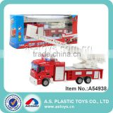 Diecast fire truck toy with scaling ladder
