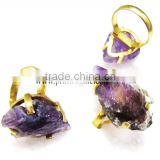 Amethyst Electroplated Ajustable Arrowhead Finger Rings