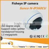 360 degree vandalproof panoramic fisheye ip camera with video splitter function, support onvif 2.0, H.264 video compression