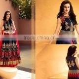 Provenance Navy Blue Raw Silk Lehenga Style Suit/indian designer anarkali suits