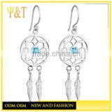 wholesale fashion dream catcher dangle earrings ,new fashion green ball dearm catcher dangles earrings (HE-040)